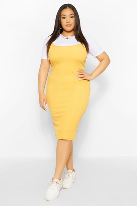 boohoo Plus 2 in 1 Jersey Pinafore Dress