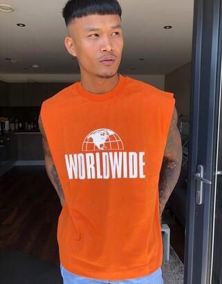 ASOS DESIGN oversized sleeveless t-shirt with worlwide print in burnt orange