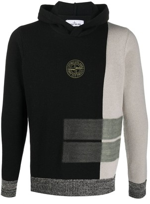 Stone Island Logo Embroidered Knitted Hoodie