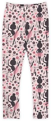 Urban Smalls Girls' Leggings Multi - Black & Pink Ballerina Toastie Leggings - Toddler & Girls