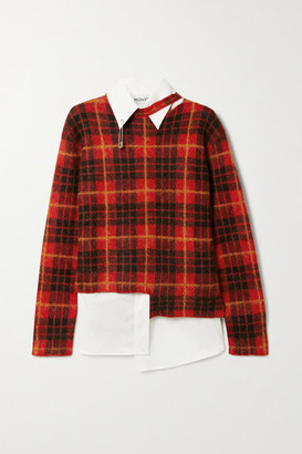 Monse Layered Embellished Cotton-blend Poplin And Checked Knitted Sweater
