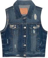 Amethyst Jeans Adalyn Embroidered-Pocket Denim Vest - Plus
