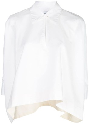 Rosetta Getty Draped-Hem Point-Collar Shirt