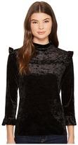 Blank NYC Black Crush Velvet Ruffle Turtleneck in Spark It Women's Clothing