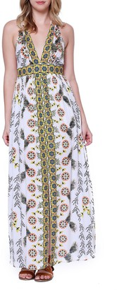 Taylor & Sage Women's Engineered Printed Front Slit Maxi Dress