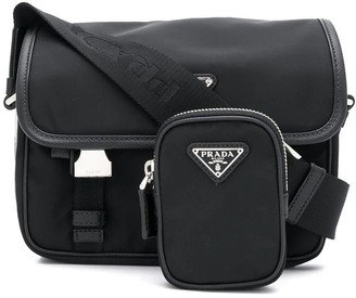 Prada Logo Saffiano Shoulder Bag