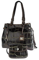 Dooney & Bourke As Is Croco Embossed Leather Tassel Bag