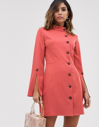 UNIQUE21 button front tunnel collar dress-Orange