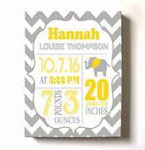 MuralMax Personalized Stretched Canvas Birth Announcement Gift, Custom Baby Name, Date, Weight Stats, Newborn Elephant Nursery Wall Art Decor, High Quality 100% Wooden Frame Construction, Ready To Hang 24X30