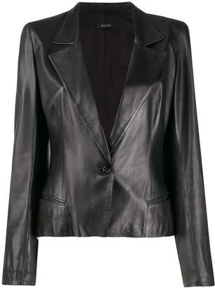 Gucci Pre-Owned structured shoulders leather jacket