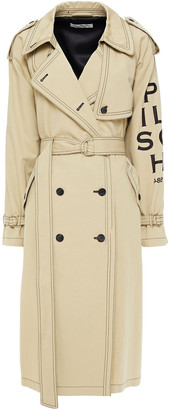 Philosophy di Lorenzo Serafini Double-breasted Printed Cotton And Linen-blend Trench Coat
