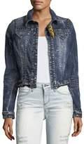 Robin's Jeans Washed Cropped Denim Jacket w/ Studs
