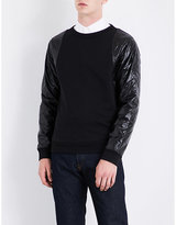 Dries Van Noten Black Contrast Helmy Quilted Cotton-jersey Sweatshirt