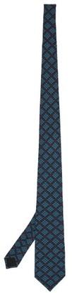 Gucci GG-logo Print Crepe Tie - Blue Multi