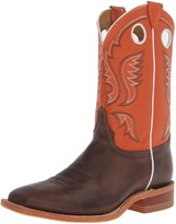 "Justin Boots Men's U.S.A. Bent Rail Collection 11"" Boot Wide Square Double Stitch Toe Leather Outsole,Chocolate Burnished ""America"" Cow/Light Orange Classic"