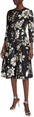 Lela Rose 3/4-Sleeve Floral Brocade Full-Skirt Dress
