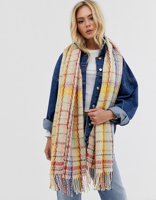 Pieces checked stitch oversized scarf
