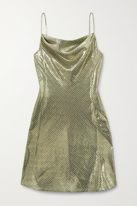 ALEXACHUNG Draped Metallic Checked Silk-blend Mini Dress - Gold