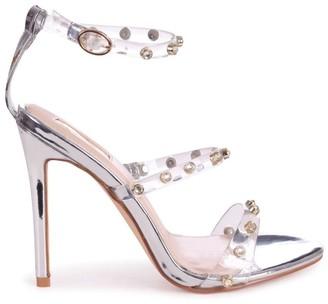 Linzi THRILLER - Silver Metallic Perspex Diamante Studded Embellished Stiletto Heel