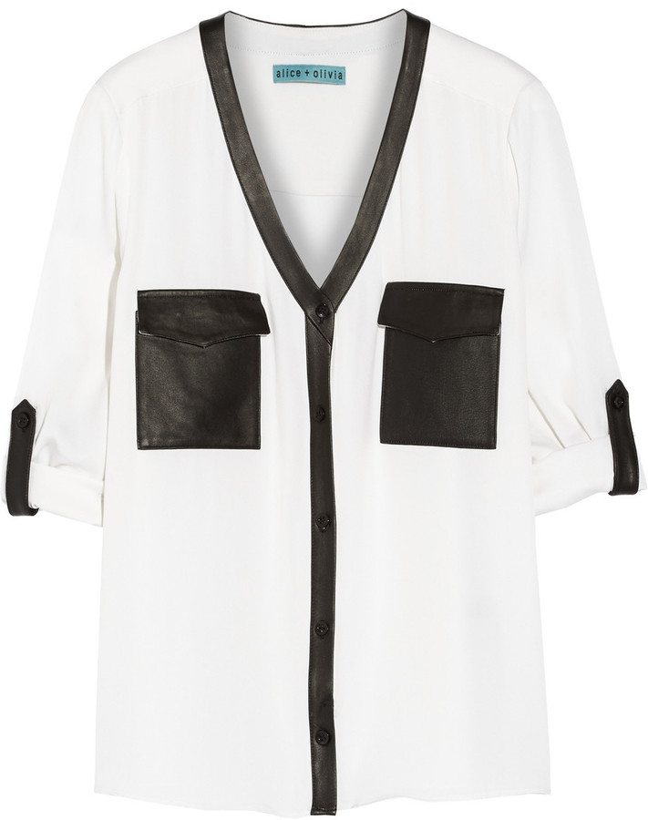 Alice + Olivia Alanna leather-trimmed stretch-silk blouse