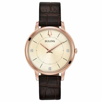 Bulova Women's Diamonds Stainless Steel Quartz Watch with Leather-Crocodile Strap