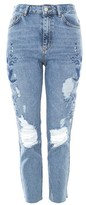 Topshop MOTO Embroidered Raw Hem Straight Leg Jeans
