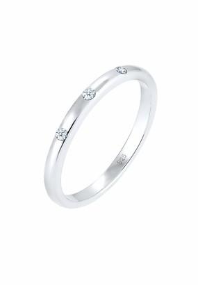 Diamore Women Silver 925 Sterling Silver Diamond Ring - Size N 0601360317_54