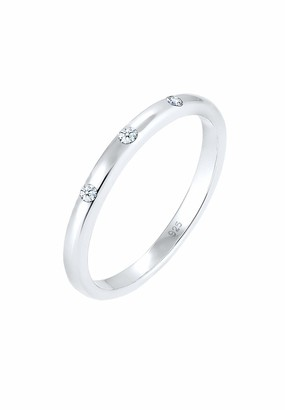 Diamore Women's 925 Sterling Silver Diamond Ring of Size Q