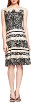 Kay Unger Foiled Lace Illusion Dress
