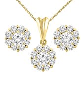 Sabrina Silver 14K Yellow Gold 3.6 cttw Genuine Diamond Earrings and Pendant Set Halo Round 5.5 mm