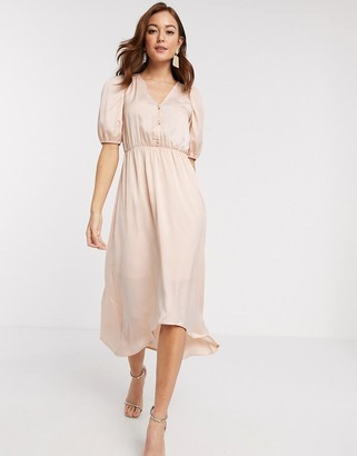 Vero Moda satin midi dress with puff sleeves in pale pink