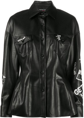 Ermanno Scervino Embroidered Faux-Leather Shirt
