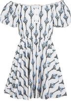 Caroline Constas Bardot Off-the-shoulder Embroidered Cotton Mini Dress - Blue