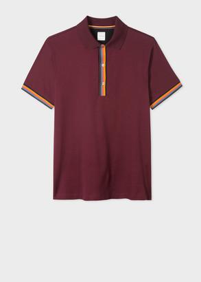 Paul Smith Men's Slim-Fit Burgundy Cotton-Pique Polo Shirt With 'Artist Stripe' Details