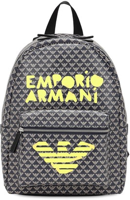 Emporio Armani ALL OVER LOGO FAUX LEATHER BACKPACK