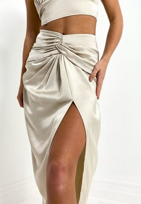 Missguided Camel Co Ord Satin Twist Front Midi Skirt