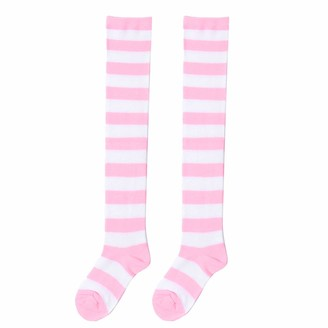 IEFIEL Women Striped Long Socks Over Knee Stocking Cotton Thigh High Socks Warm Preppy Long Socks for Halloween Anime Cosplay Party Pink One Size