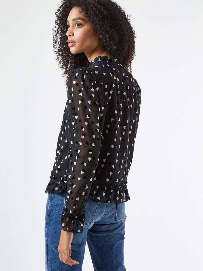 Thumbnail for your product : Dorothy Perkins Flocked Heart Tie Neck Long Sleeve Top - Black