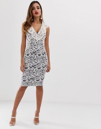 Vesper contrast lace frill v neck bodycon dress