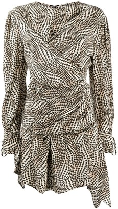 Isabel Marant Tie-Cuffs Dot-Print Mini Dress