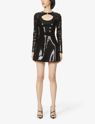 David Koma Sequin-embellished stretch-woven mini dress