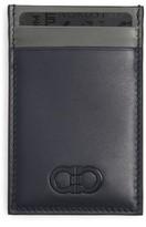 Salvatore Ferragamo Men's Gancio Marine Leather Card Case - Blue