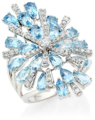 Hueb Botanica Diamond, Aquamarine & 18K White Gold Ring