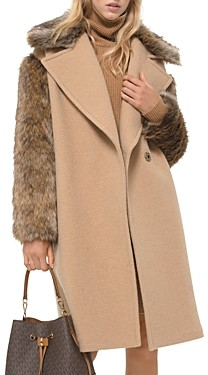 MICHAEL Michael Kors Faux Fur Trim Coat