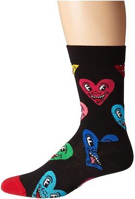 Happy Socks Keith Haring Heart Sock (Black Multi) Women's Crew Cut Socks Shoes