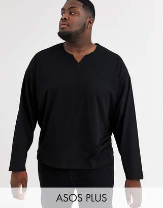 Asos Design DESIGN Plus oversized long sleeve t-shirt with raw notch neck in black
