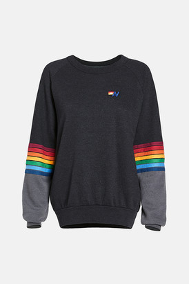 Aviator Nation Rainbow Stitch Crew Sweatshirt