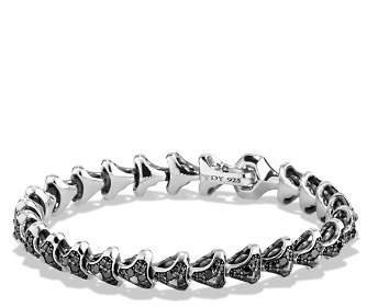 David Yurman Armory Single Row Link Bracelet with Black Diamonds
