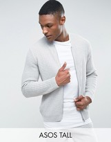 Asos Tall Textured Bomber Jacket In Pale Grey