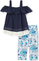 Minimoca miniMOCA Girls' Leggings Navy - Navy Blue Lace-Accent Chiffon Off-Shoulder Top & Leggings - Girls